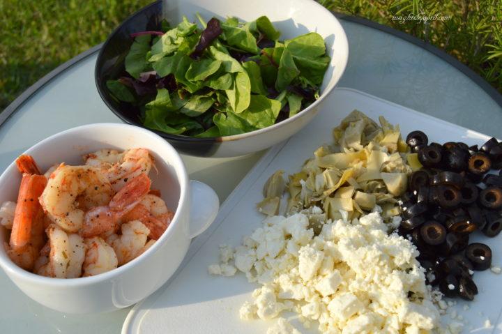 ingredients for shrimp mediterranean salad