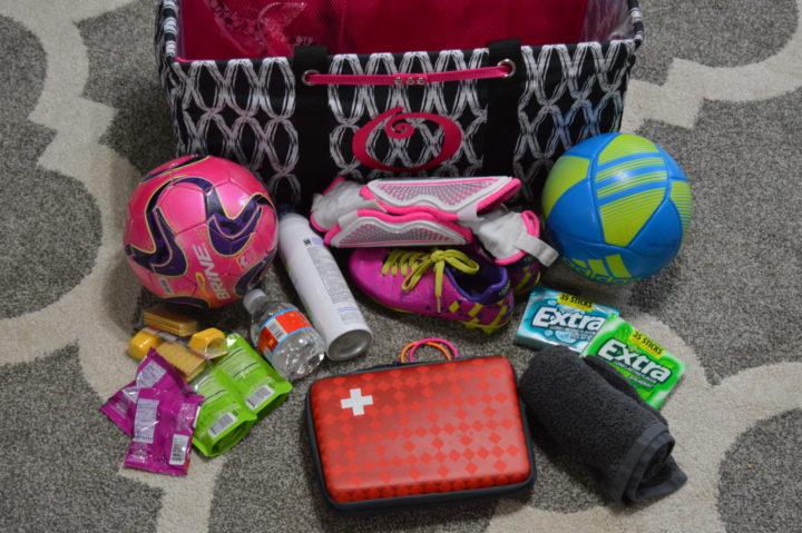 items in ultimate soccer mom bag