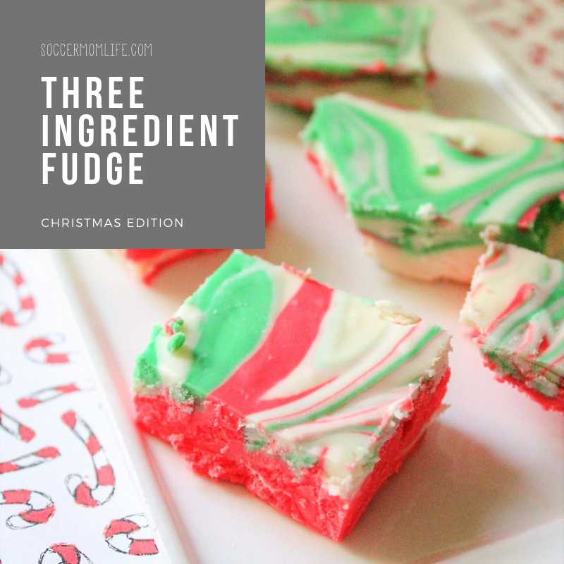 Three Ingredient Fudge- Christmas Edition