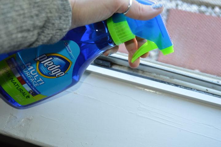 Pledge Multi Surface clean dirty windowsill
