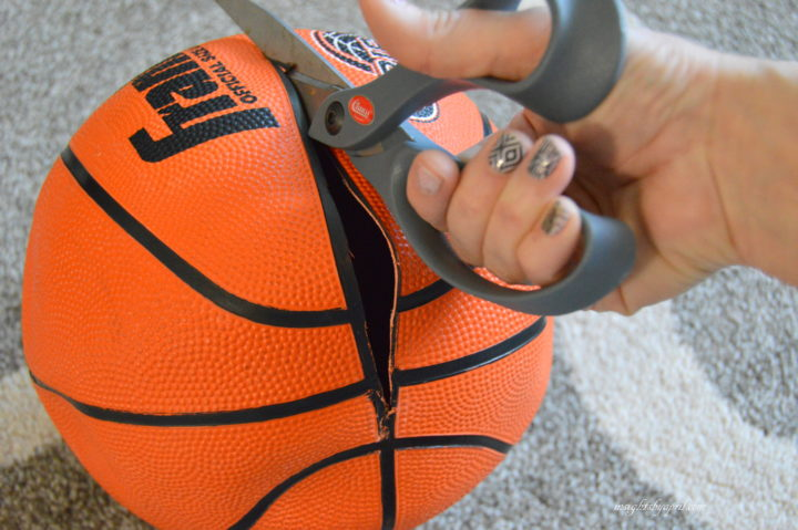 Cutting into a baskball