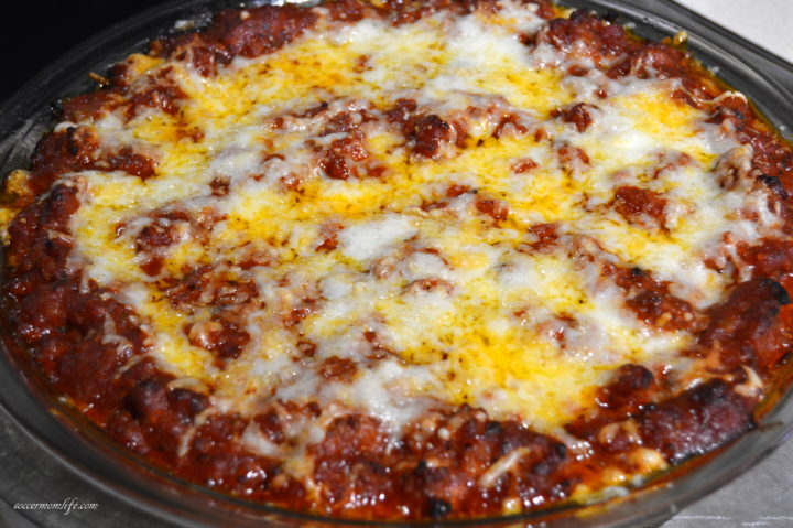 finished sausage spaghetti pie