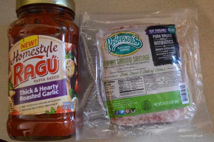 ingredients for sausage spaghetti pie