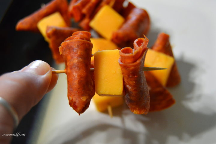 cheese meat kabob